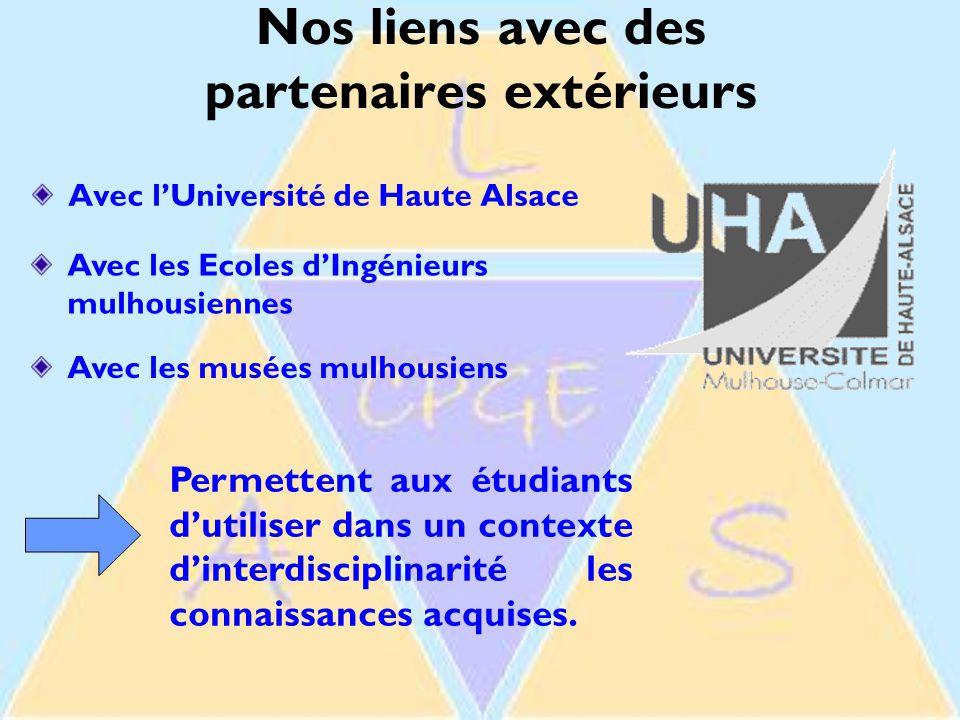 Nos liens avec des partenaires extérieurs Avec l'Université de Haute Alsace Avec les Ecoles d'Ingénieurs mulhousiennes Avec les musées mulhousiens Permettent aux étudiants d'utiliser dans un contexte d'interdisciplinarité les connaissances acquises.