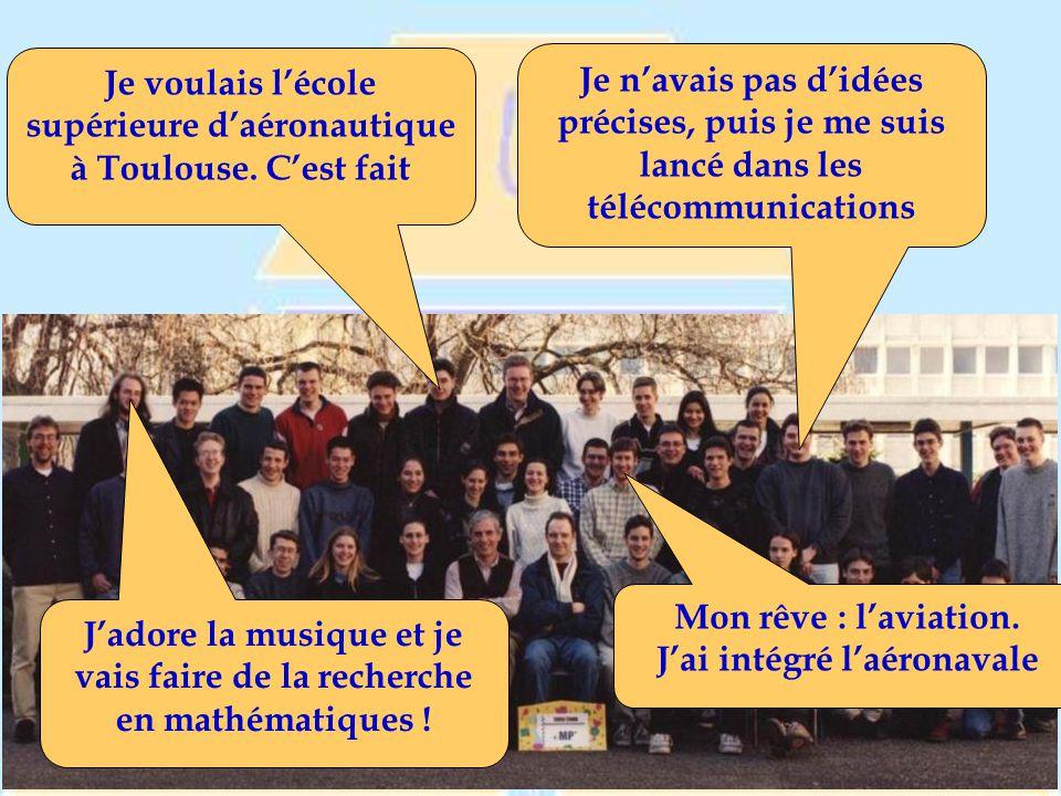 Je n'avais pas d'idées précises, puis je me suis lancé dans les télécommunications Je voulais l'école supérieure d'aéronautique à Toulouse.