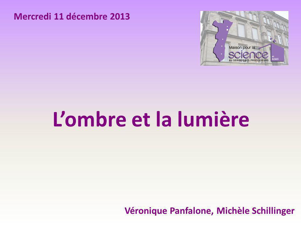 L'ombre et la lumière Véronique Panfalone, Michèle Schillinger Mercredi 11 décembre 2013