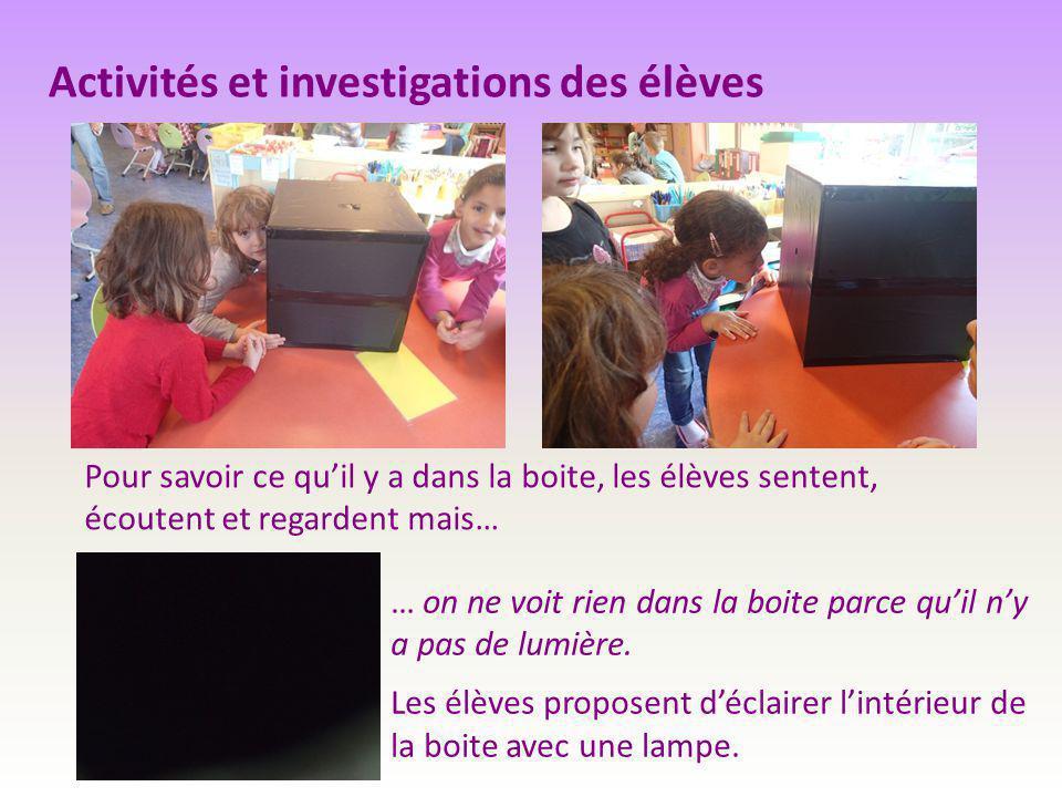 Activités et investigations des élèves Pour savoir ce qu'il y a dans la boite, les élèves sentent, écoutent et regardent mais… … on ne voit rien dans