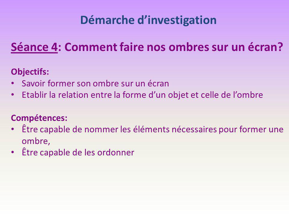 Démarche d'investigation Séance 4: Comment faire nos ombres sur un écran? Objectifs: Savoir former son ombre sur un écran Etablir la relation entre la
