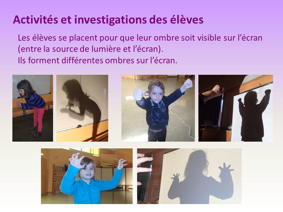 Activités et investigations des élèves Les élèves se placent pour que leur ombre soit visible sur l'écran (entre la source de lumière et l'écran). Ils