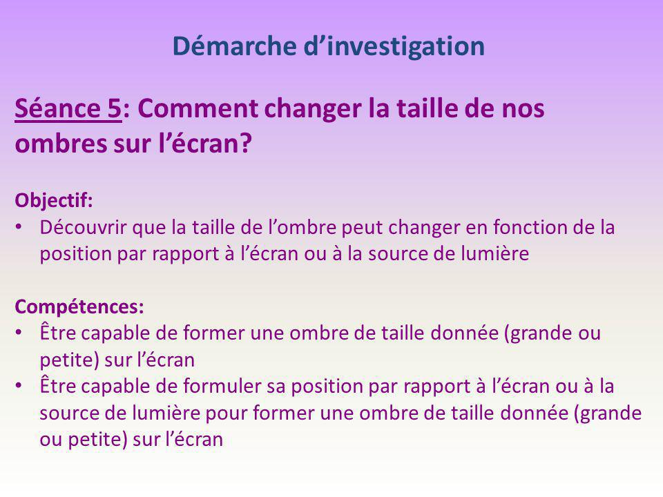 Démarche d'investigation Séance 5: Comment changer la taille de nos ombres sur l'écran? Objectif: Découvrir que la taille de l'ombre peut changer en f
