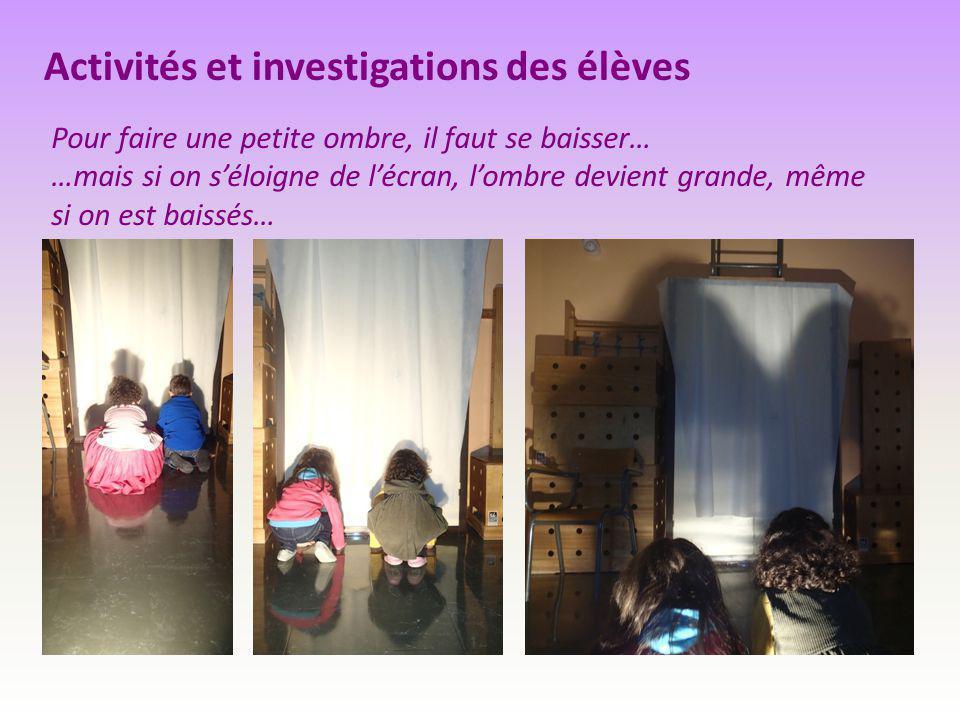 Activités et investigations des élèves Pour faire une petite ombre, il faut se baisser… …mais si on s'éloigne de l'écran, l'ombre devient grande, même