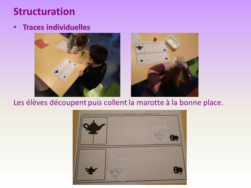 Structuration Traces individuelles Les élèves découpent puis collent la marotte à la bonne place.