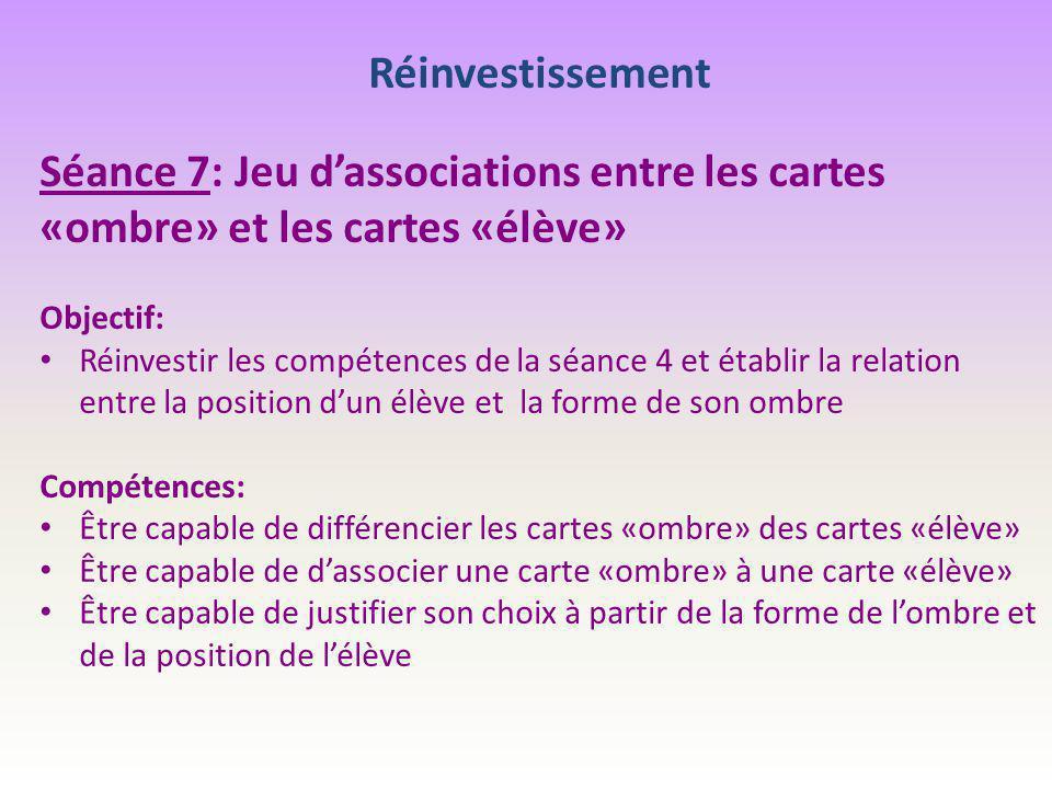 Réinvestissement Séance 7: Jeu d'associations entre les cartes «ombre» et les cartes «élève» Objectif: Réinvestir les compétences de la séance 4 et ét
