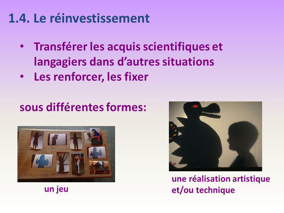 1.4. Le réinvestissement Transférer les acquis scientifiques et langagiers dans d'autres situations Les renforcer, les fixer sous différentes formes:
