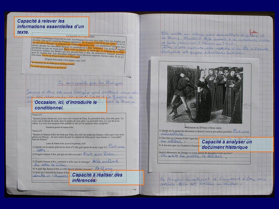 Capacité à relever les informations essentielles d'un texte. Capacité à réaliser des inférences. Occasion, ici, d'introduire le conditionnel. Capacité