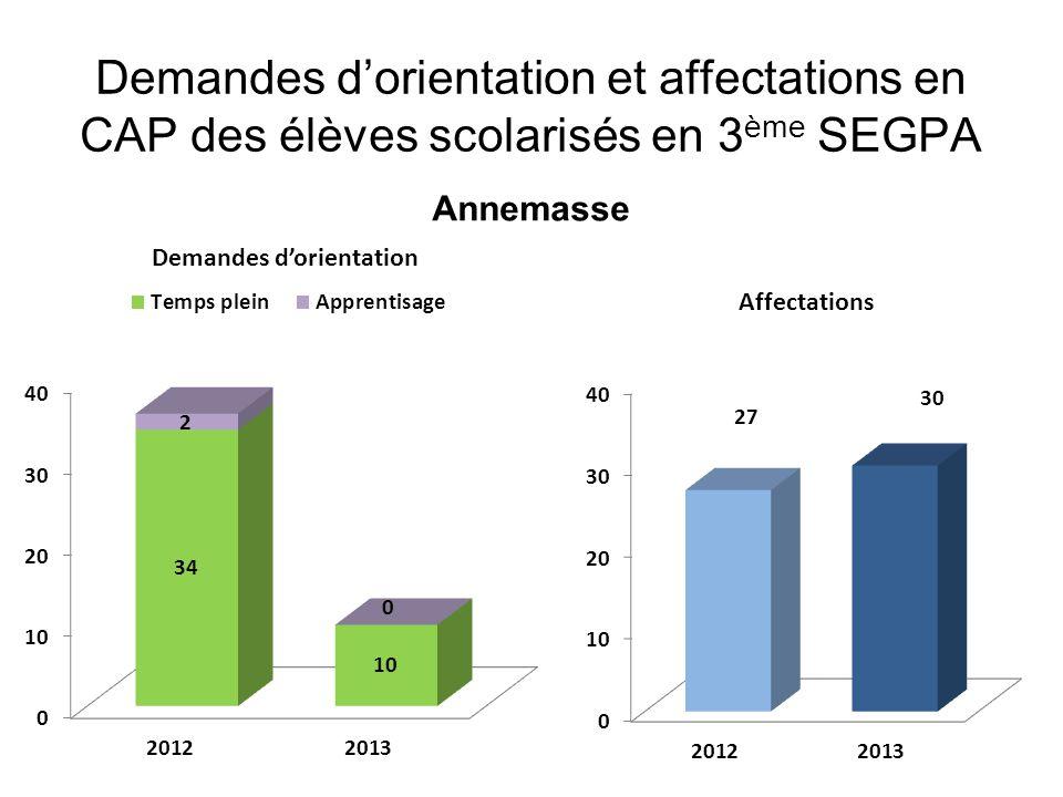 Demandes d'orientation et affectations en CAP des élèves scolarisés en 3 ème SEGPA Annemasse