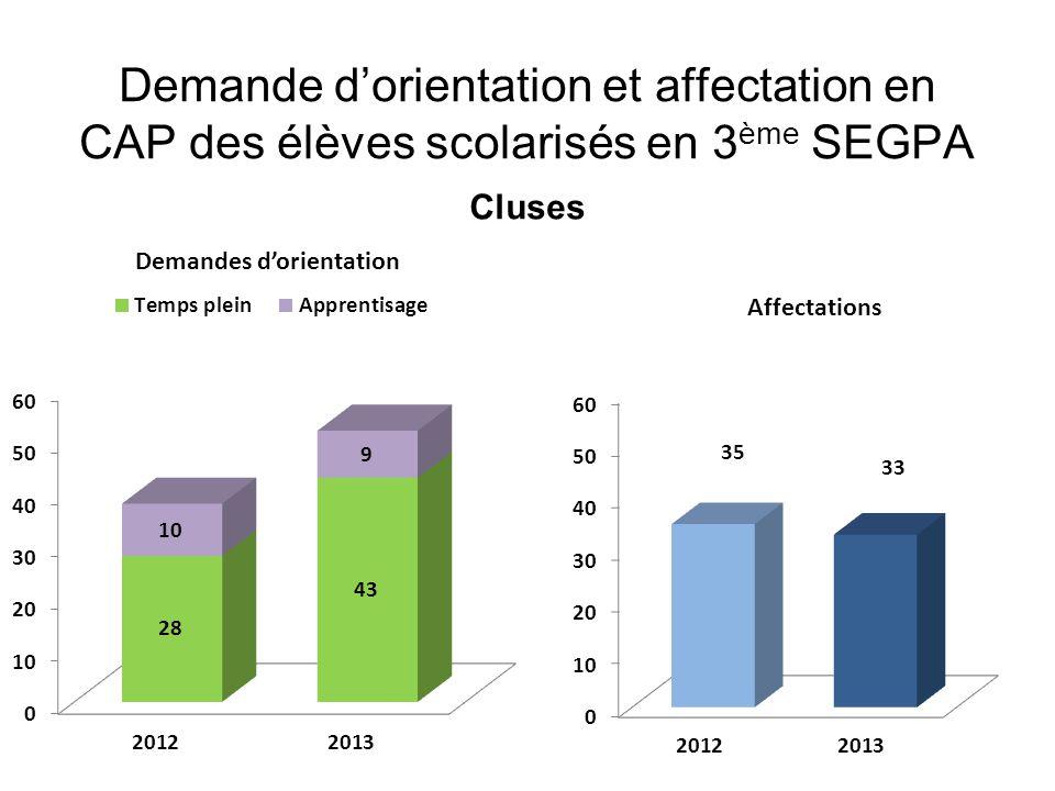 Demande d'orientation et affectation en CAP des élèves scolarisés en 3 ème SEGPA Cluses