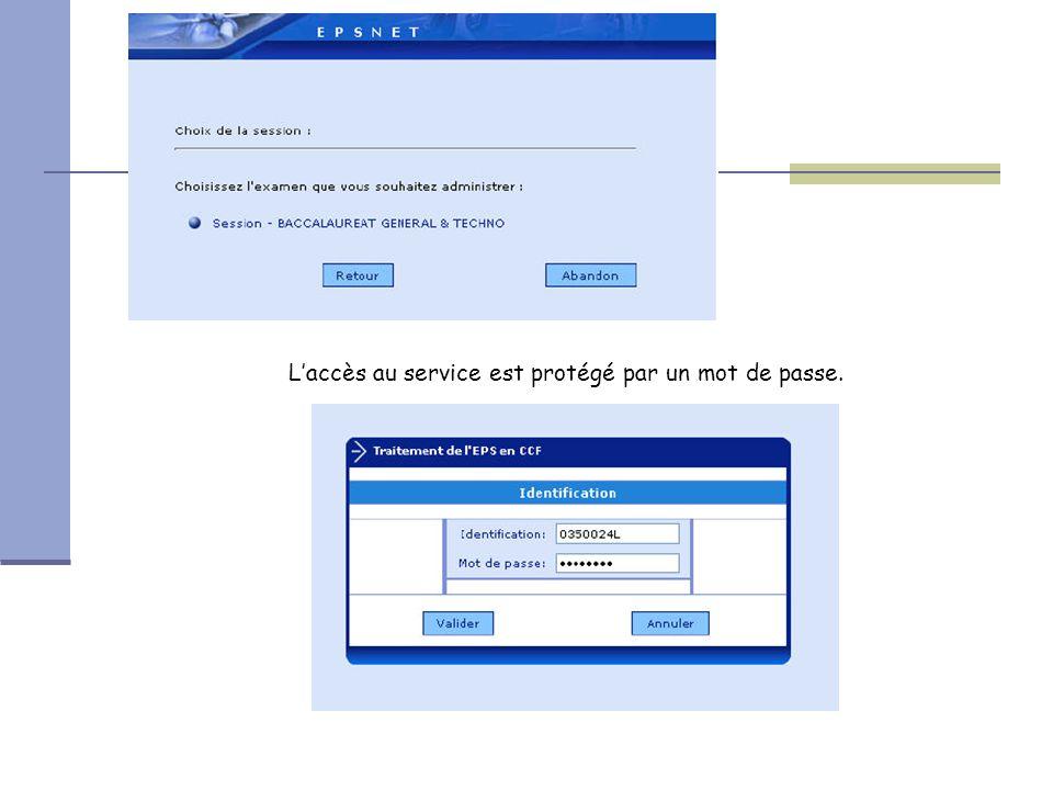 L'accès au service est protégé par un mot de passe.