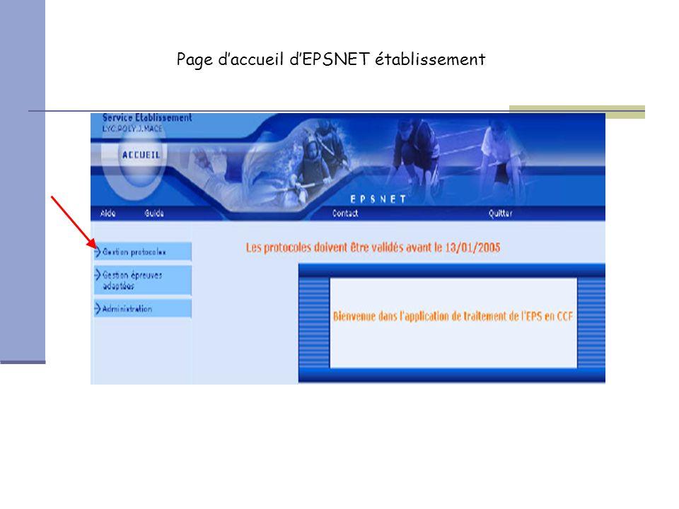 Page d'accueil d'EPSNET établissement