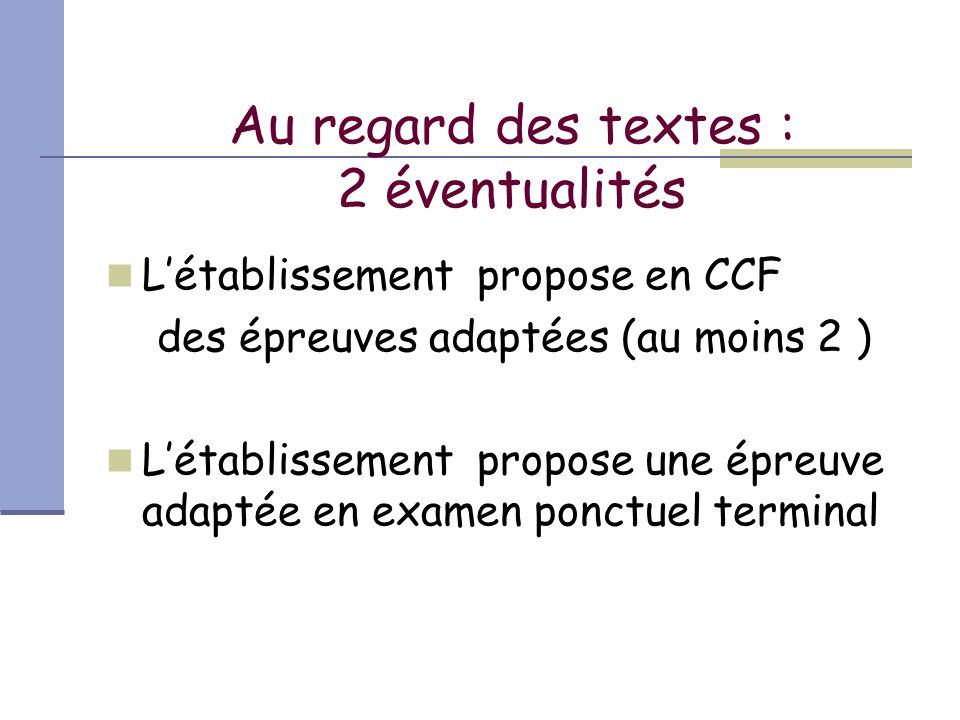 Au regard des textes : 2 éventualités L'établissement propose en CCF des épreuves adaptées (au moins 2 ) L'établissement propose une épreuve adaptée en examen ponctuel terminal