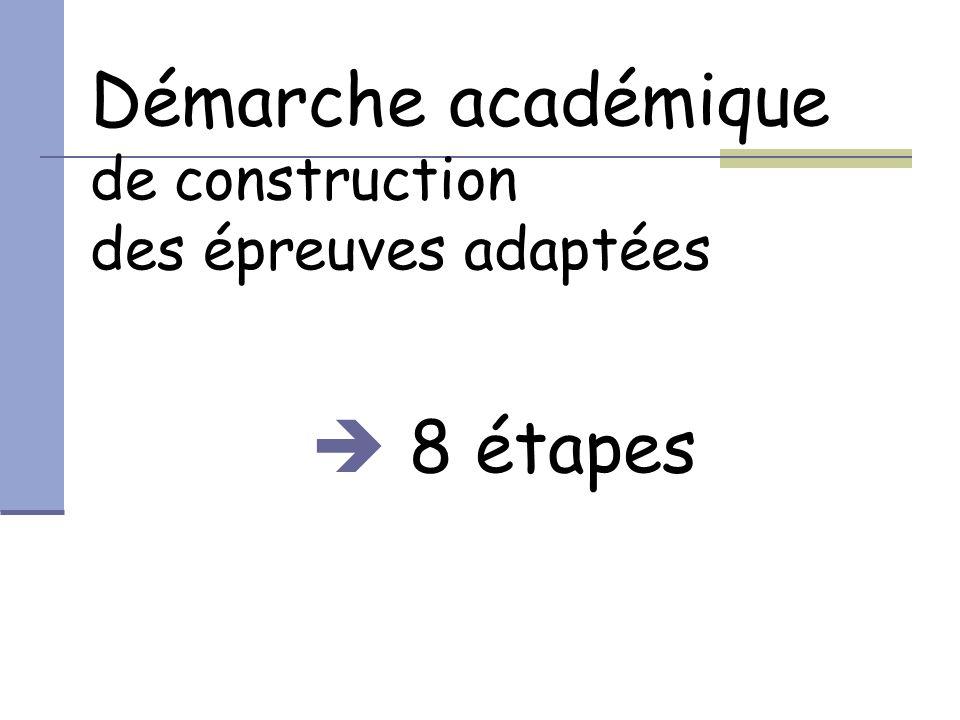 Démarche académique de construction des épreuves adaptées  8 étapes