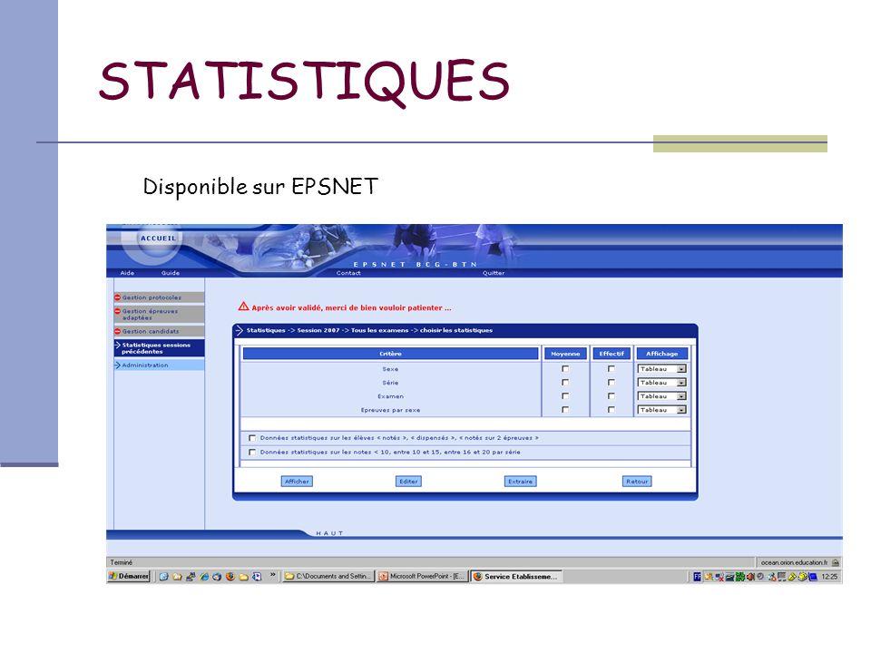 STATISTIQUES Disponible sur EPSNET