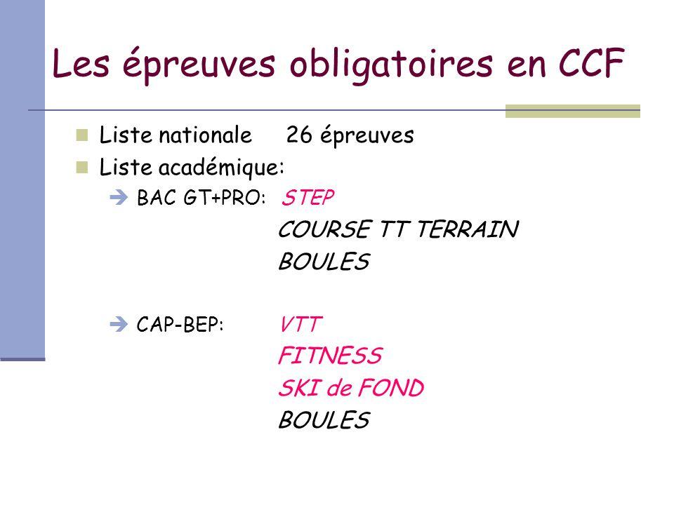 Les épreuves obligatoires en CCF Liste nationale 26 épreuves Liste académique:  BAC GT+PRO: STEP COURSE TT TERRAIN BOULES  CAP-BEP: VTT FITNESS SKI de FOND BOULES