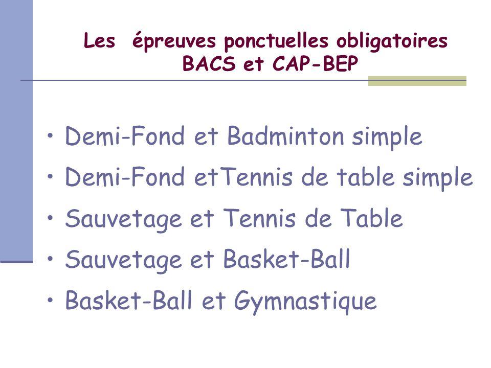 Les épreuves ponctuelles obligatoires BACS et CAP-BEP Demi-Fond et Badminton simple Demi-Fond etTennis de table simple Sauvetage et Tennis de Table Sa