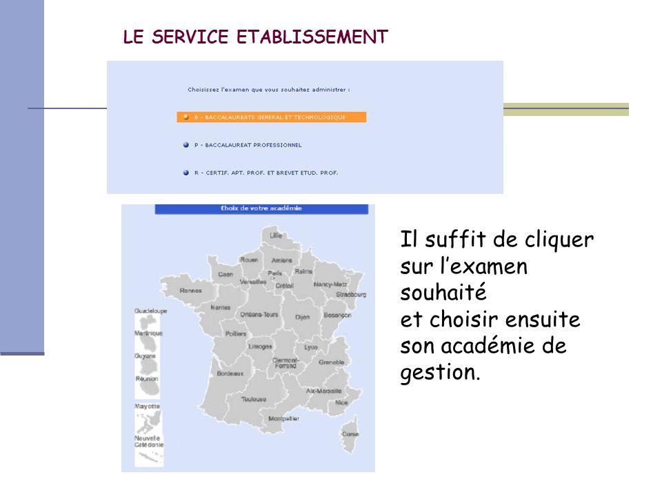 LE SERVICE ETABLISSEMENT Il suffit de cliquer sur l'examen souhaité et choisir ensuite son académie de gestion.