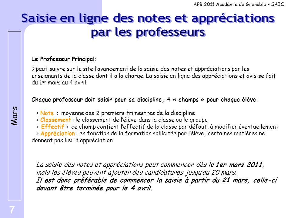7 Le Professeur Principal:  peut suivre sur le site l'avancement de la saisie des notes et appréciations par les enseignants de la classe dont il a la charge.