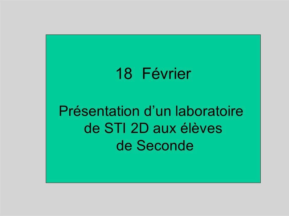 18 Février Présentation d'un laboratoire de STI 2D aux élèves de Seconde
