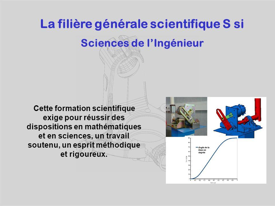 La filière générale scientifique S si Sciences de l'Ingénieur Cette formation scientifique exige pour réussir des dispositions en mathématiques et en sciences, un travail soutenu, un esprit méthodique et rigoureux.