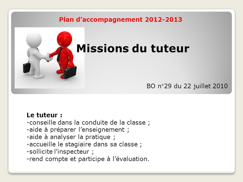 Plan d'accompagnement 2012-2013 Le tuteur : -conseille dans la conduite de la classe ; -aide à préparer l'enseignement ; -aide à analyser la pratique