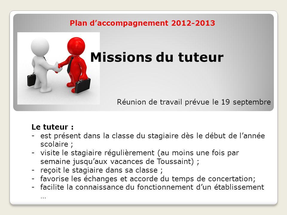 Plan d'accompagnement 2012-2013 Le tuteur : -est présent dans la classe du stagiaire dès le début de l'année scolaire ; -visite le stagiaire régulière
