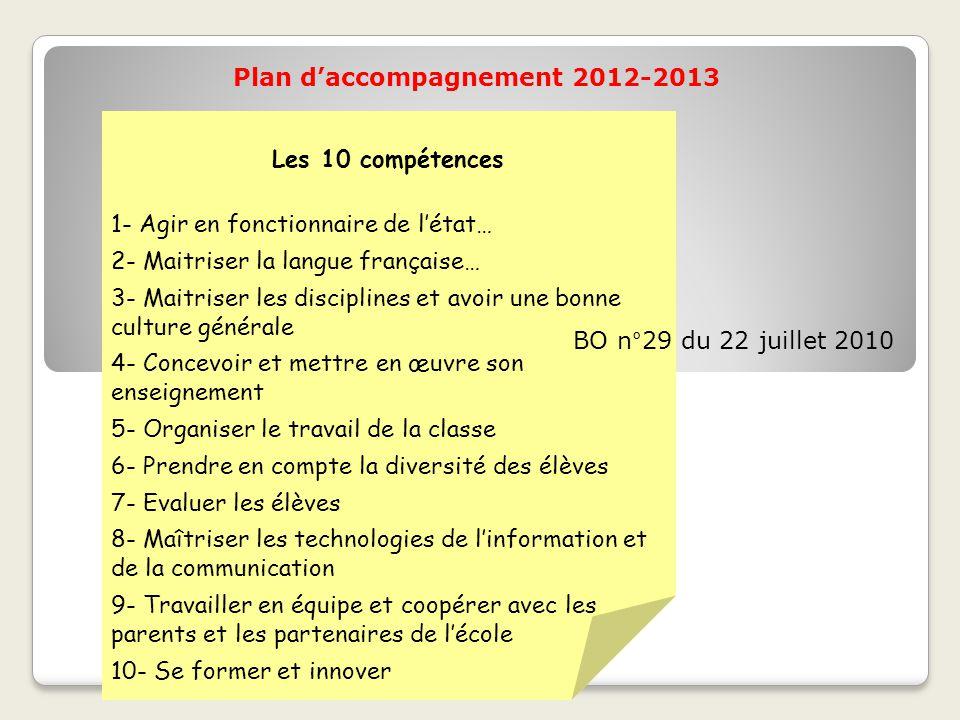 Plan d'accompagnement 2012-2013 Les 10 compétences 1- Agir en fonctionnaire de l'état… 2- Maitriser la langue française… 3- Maitriser les disciplines