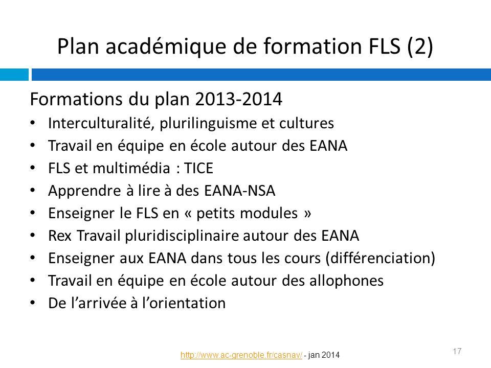 Formations du plan 2013-2014 Interculturalité, plurilinguisme et cultures Travail en équipe en école autour des EANA FLS et multimédia : TICE Apprendr