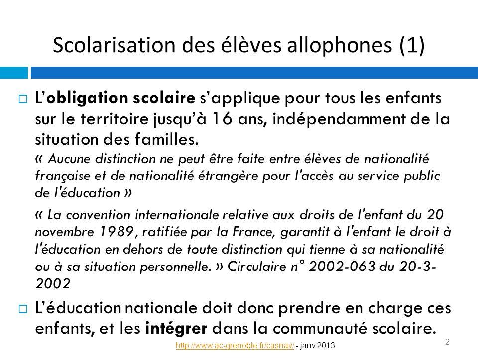 Scolarisation des élèves allophones (2) Apprentissage du français dans le cadre d'UPE2A de formats différents selon les territoires Mise en place d'enseignements spécifiques pour une remise à niveau si besoin, et accompagner l'intégration en classe ordinaire Intégration partielle dans les classes ordinaires 3 http://www.ac-grenoble.fr/casnav/http://www.ac-grenoble.fr/casnav/ - janv 2013