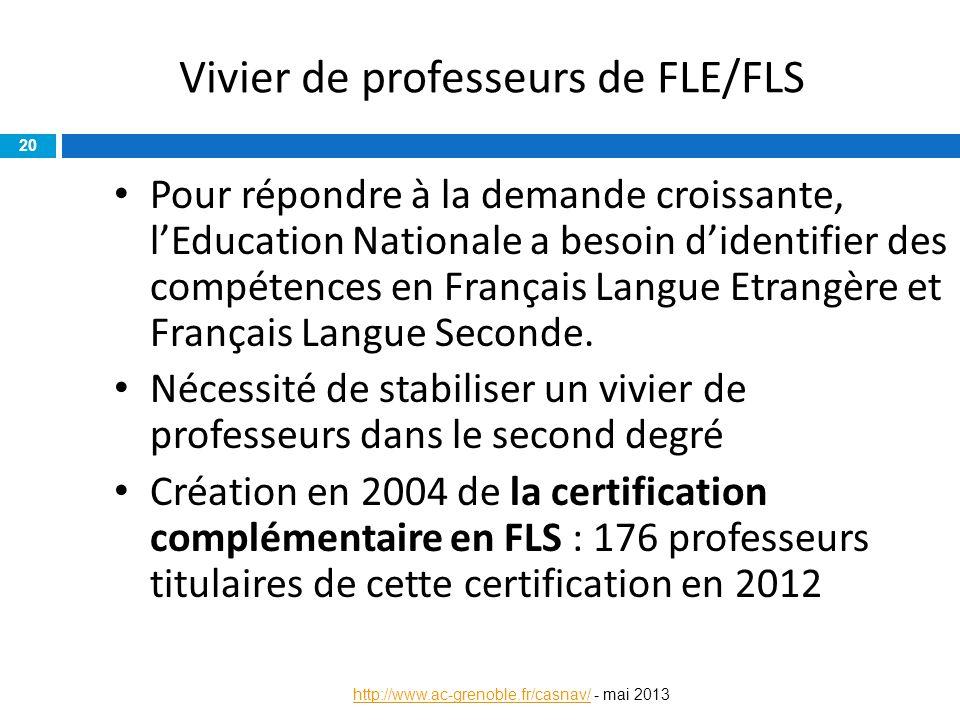 Vivier de professeurs de FLE/FLS Pour répondre à la demande croissante, l'Education Nationale a besoin d'identifier des compétences en Français Langue
