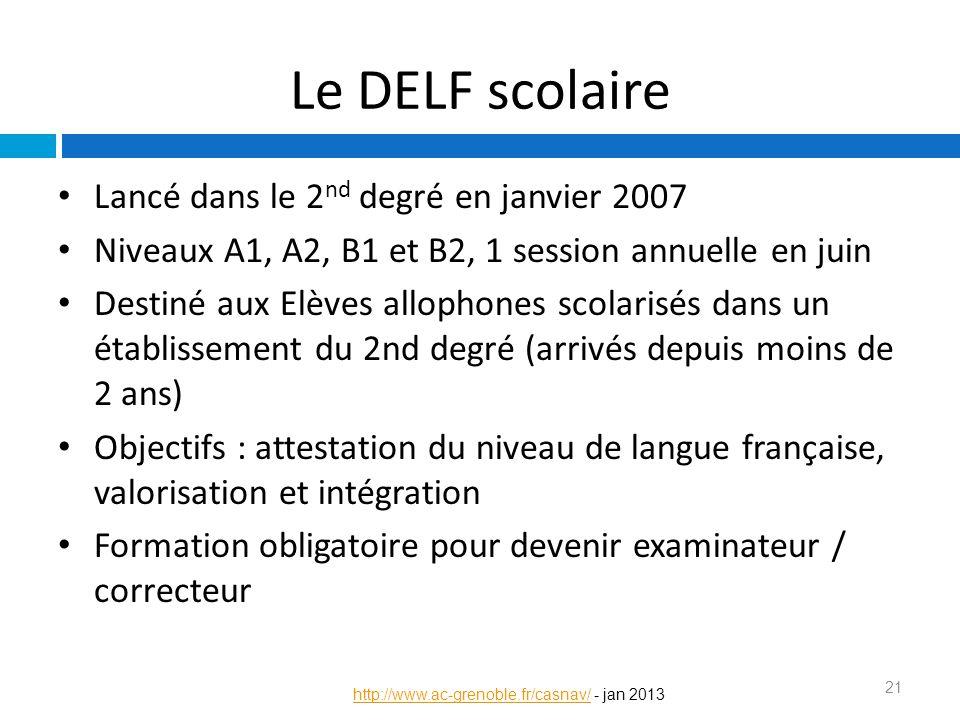 Le DELF scolaire Lancé dans le 2 nd degré en janvier 2007 Niveaux A1, A2, B1 et B2, 1 session annuelle en juin Destiné aux Elèves allophones scolarisé