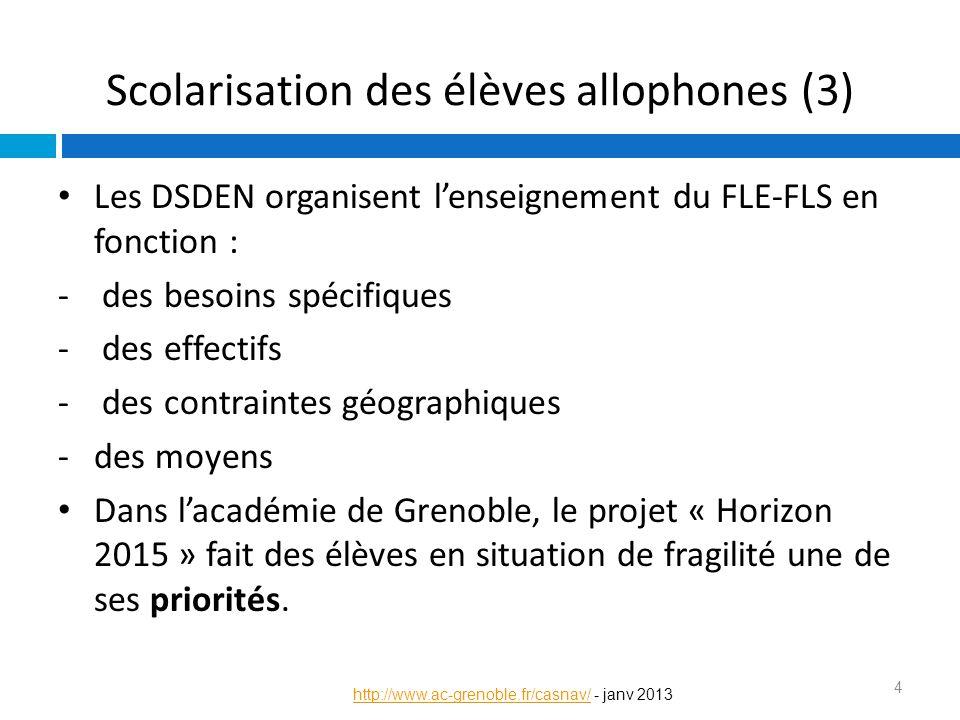 Scolarisation des élèves allophones (3) Les DSDEN organisent l'enseignement du FLE-FLS en fonction : - des besoins spécifiques - des effectifs - des c