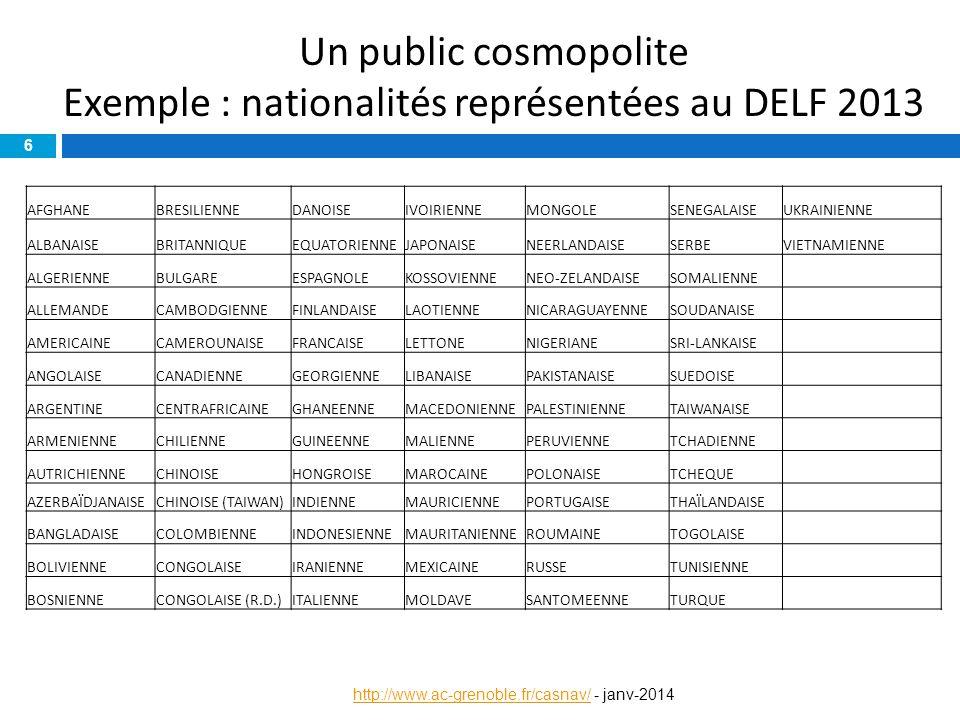 Un public cosmopolite Exemple : nationalités représentées au DELF 2013 6 http://www.ac-grenoble.fr/casnav/http://www.ac-grenoble.fr/casnav/ - janv-201