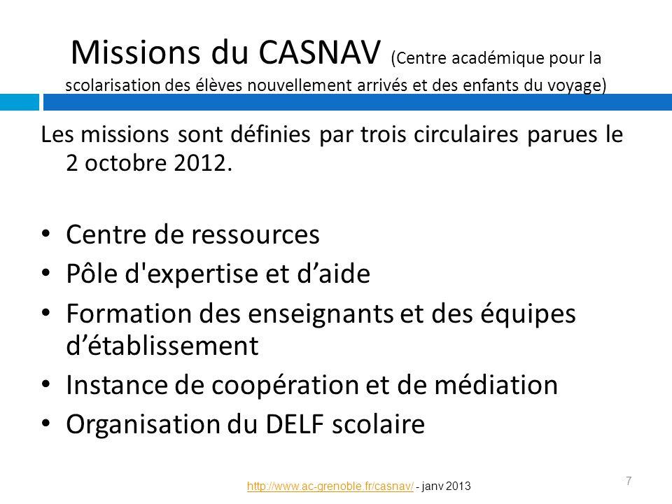 Missions du CASNAV (Centre académique pour la scolarisation des élèves nouvellement arrivés et des enfants du voyage) Les missions sont définies par t