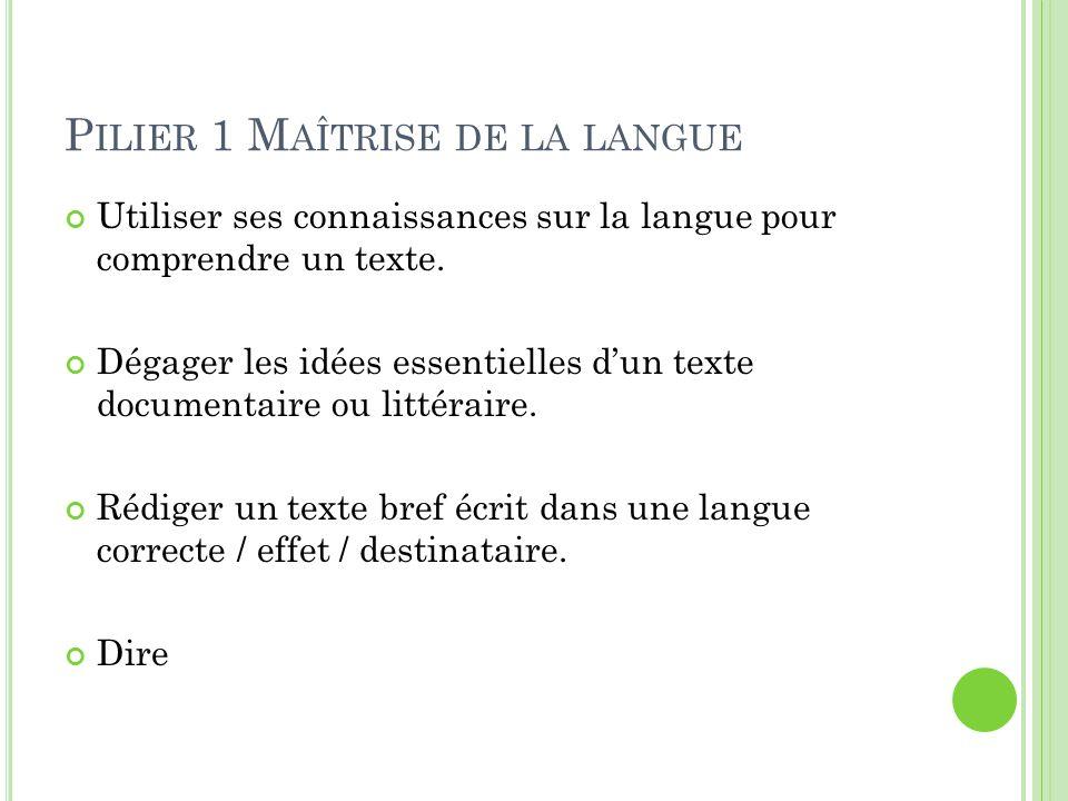 P ILIER 1 M AÎTRISE DE LA LANGUE Utiliser ses connaissances sur la langue pour comprendre un texte. Dégager les idées essentielles d'un texte document