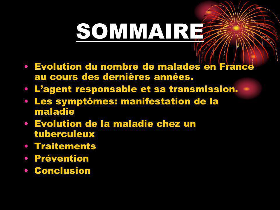 SOMMAIRE Evolution du nombre de malades en France au cours des dernières années. L'agent responsable et sa transmission. Les symptômes: manifestation
