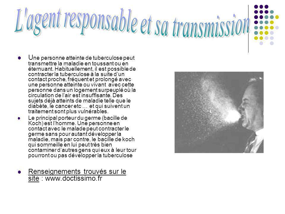 U ne personne atteinte de tuberculose peut transmettre la maladie en toussant ou en éternuant. Habituellement, il est possible de contracter la tuberc