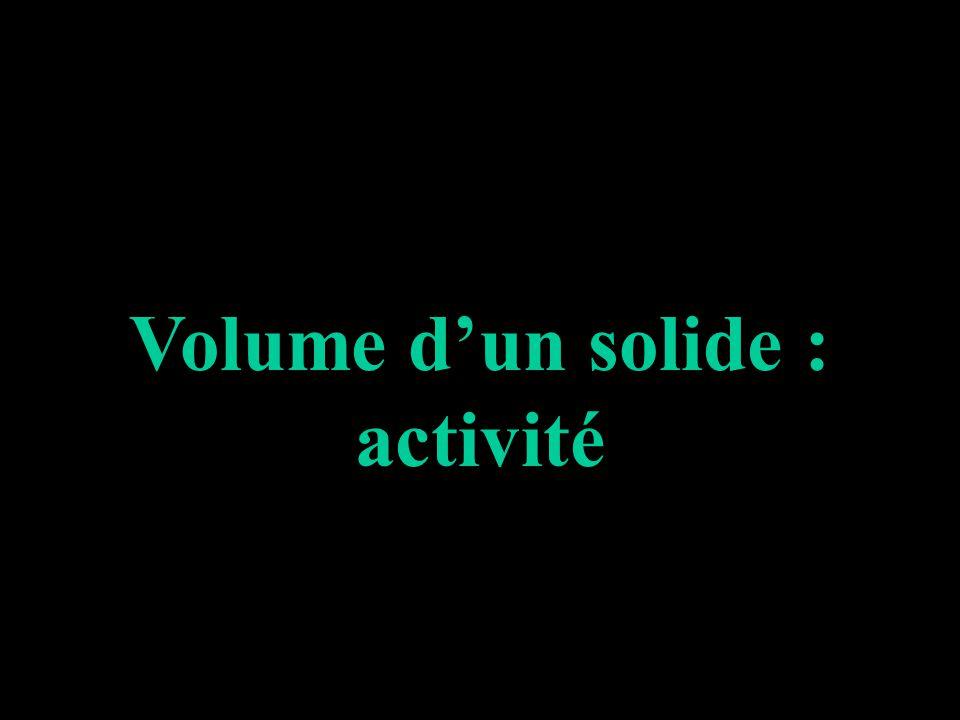 Volume d'un solide : activité