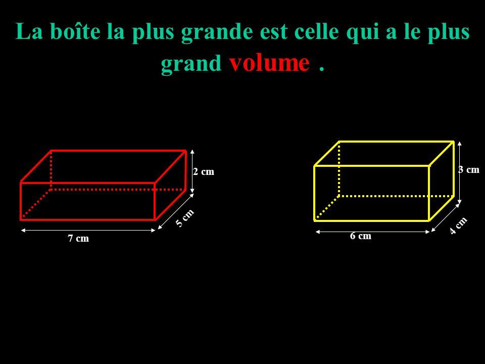 Si on remplit ces deux boîtes avec des cubes de 1 cm d'arête, laquelle contiendra le plus de cubes ? 7 cm 5 cm 2 cm Elle contient 72 cubesElle contien