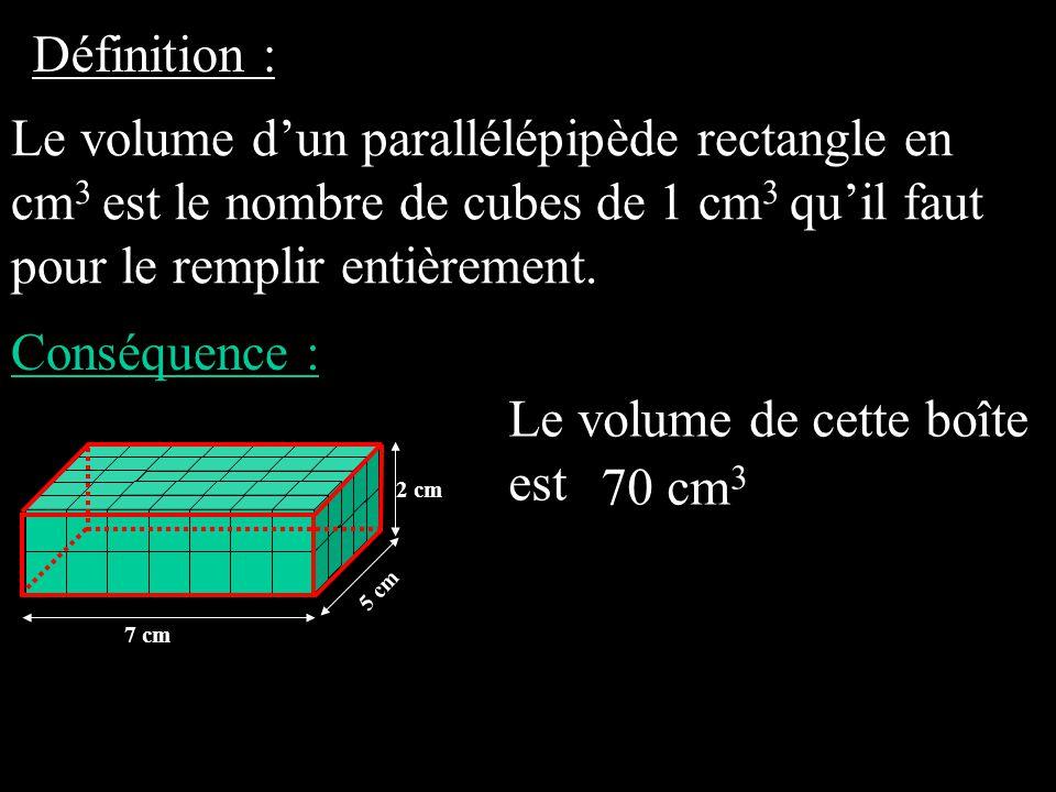 Définition : Le volume d'un parallélépipède rectangle en cm 3 est le nombre de cubes de 1 cm 3 qu'il faut pour le remplir entièrement.