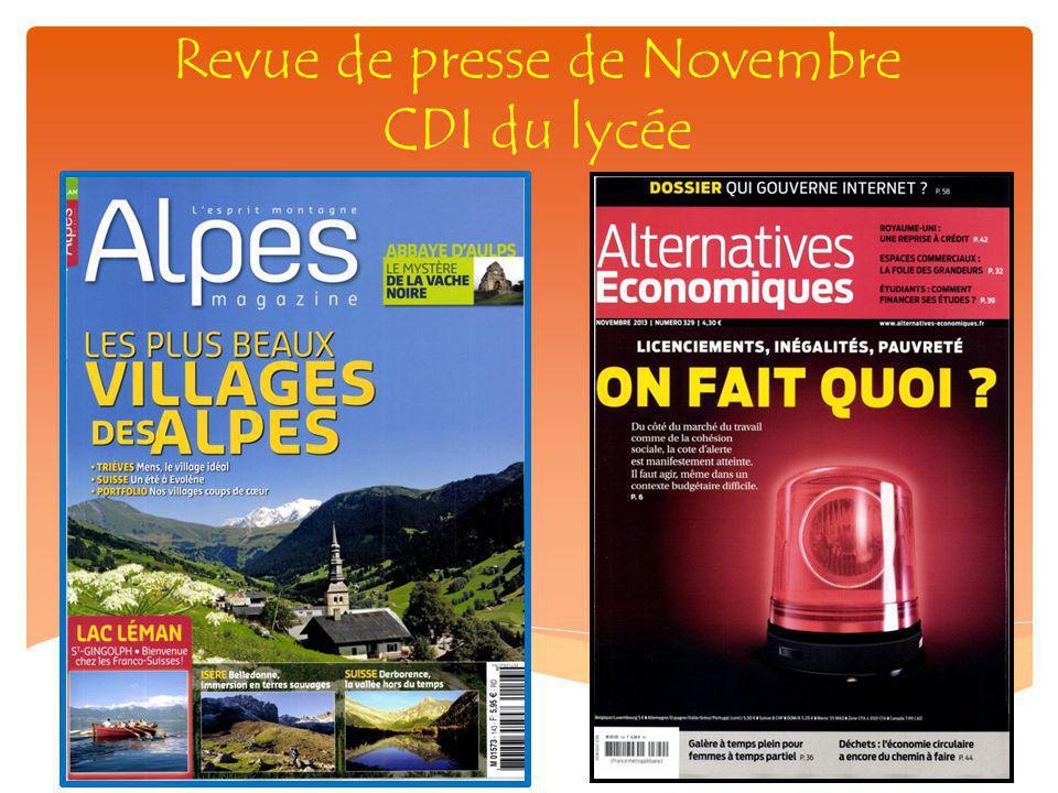 Revue de presse de Novembre CDI du lycée