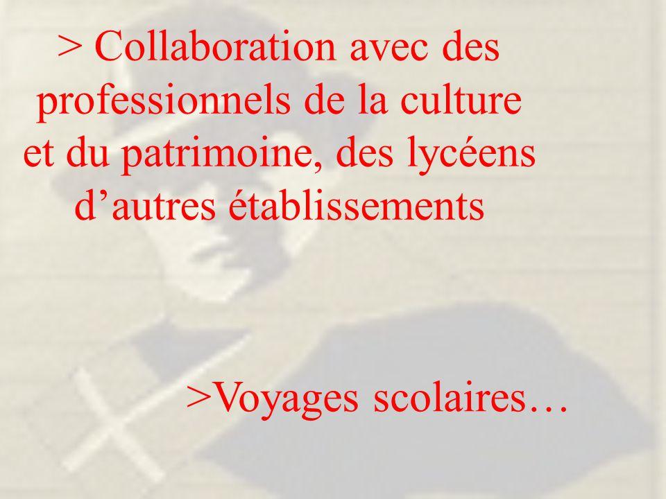 > Collaboration avec des professionnels de la culture et du patrimoine, des lycéens d'autres établissements >Voyages scolaires…