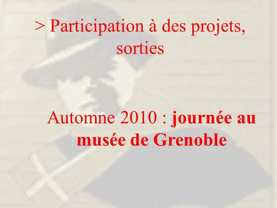> Participation à des projets, sorties Automne 2010 : journée au musée de Grenoble