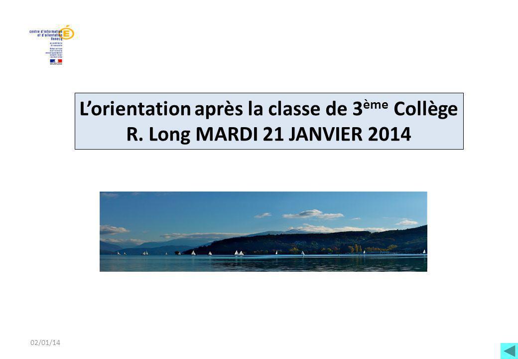 02/01/14 L'orientation après la classe de 3 ème Collège R. Long MARDI 21 JANVIER 2014