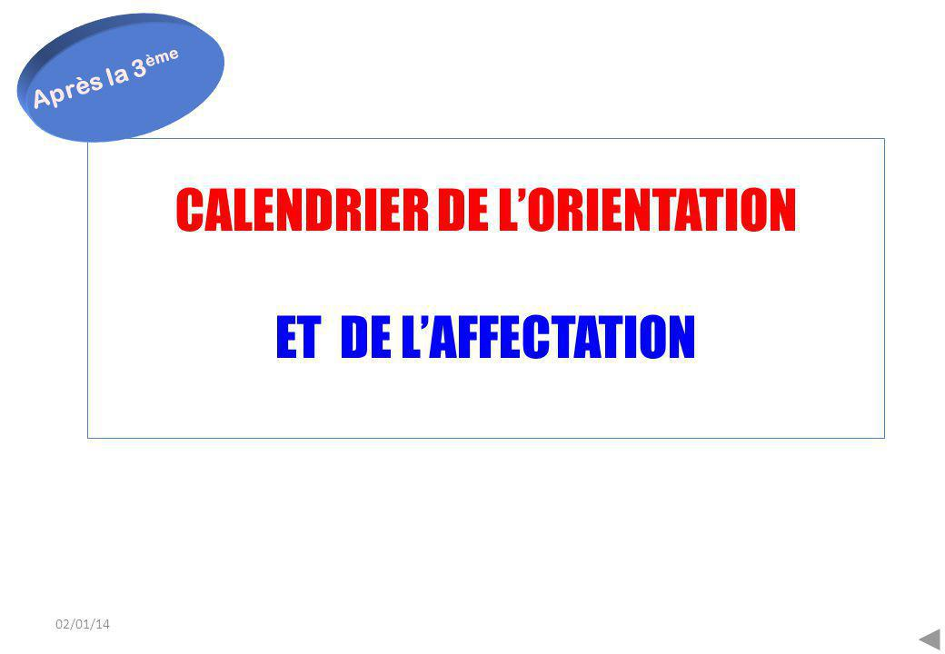 02/01/14 CALENDRIER DE L'ORIENTATION ET DE L'AFFECTATION Après la 3 ème