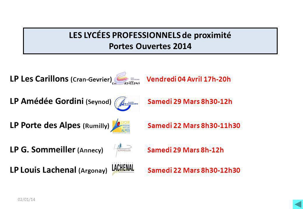 02/01/14 LP Les Carillons (Cran-Gevrier) Vendredi 04 Avril 17h-20h LP Amédée Gordini (Seynod) Samedi 29 Mars 8h30-12h LP Porte des Alpes (Rumilly) Sam