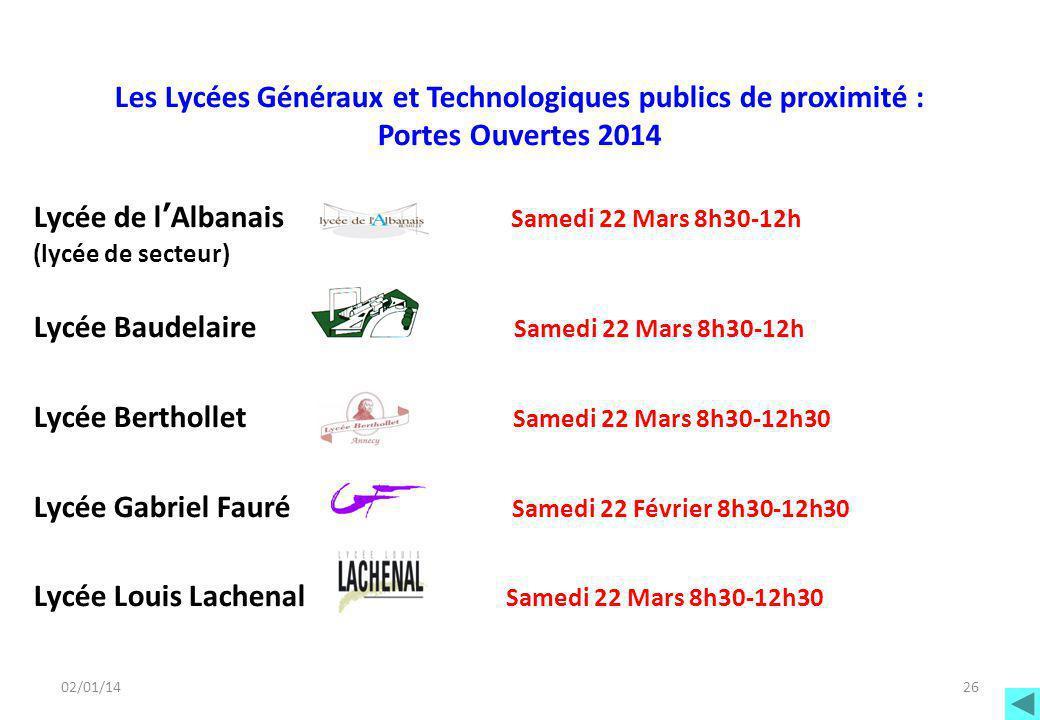 02/01/14 Les Lycées Généraux et Technologiques publics de proximité : Portes Ouvertes 2014 Lycée de l'Albanais Samedi 22 Mars 8h30-12h (lycée de secte