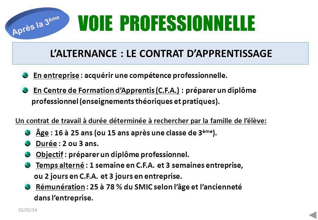02/01/14 VOIE PROFESSIONNELLE Après la 3 ème En entreprise : acquérir une compétence professionnelle. En Centre de Formation d'Apprentis (C.F.A.) : pr