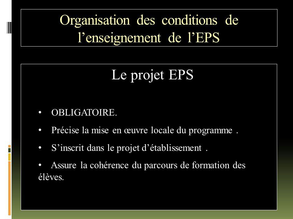 Organisation des conditions de l'enseignement de l'EPS Le projet EPS OBLIGATOIRE. Précise la mise en œuvre locale du programme. S'inscrit dans le proj